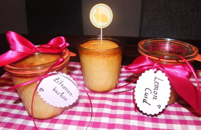 Lemon Curd und Zitronenkuchen aus dem Glas